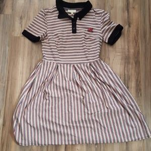 Modcloth Octopus Stripe Polo Dress Medium